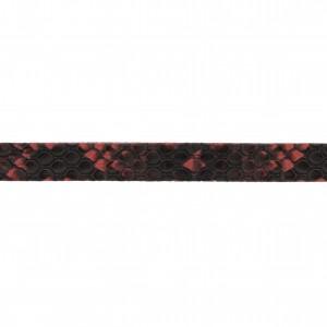 Tira Chata de Couro Sintético Cobra Vermelho 10mm