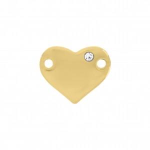 Passa Tira Coração Ouro com Strass 15mm