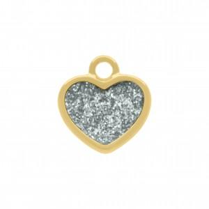 Pingente Ouro com Glitter 16mm