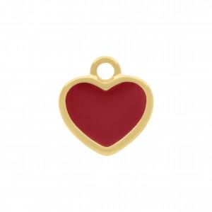 Pingente Ouro com Resina Vermelha 16mm