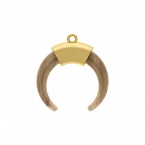 Pingente Dente de Sabre Ouro com Aplique Mármore 39mm