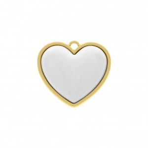 Pingente Ouro Coração com Resina Branca 27mm