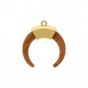 Pingente Dente de Sabre Ouro com Aplique Flame 39mm