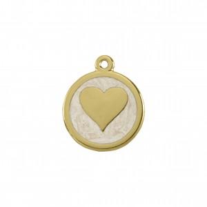 Pingente Coração Ouro com Resina Pérola 27mm