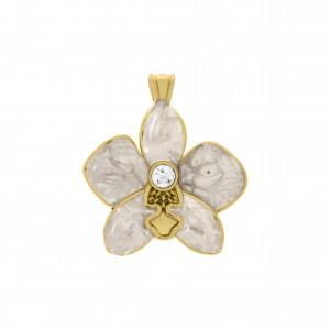 Pingente Flor Ouro com Resina Pérola 34mm