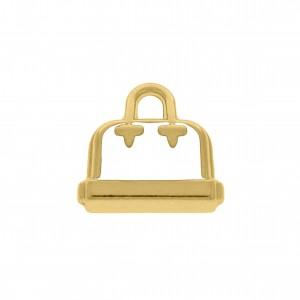 Pingente Ouro Bolsa com Resina Branca 17mm
