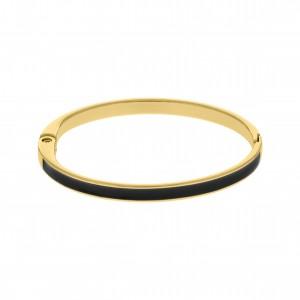 Base para Pulseira Ouro com Resina Preta 68mm