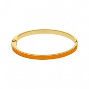 Base para Pulseira Ouro com Resina Laranja 68mm