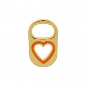 Pingente Lacre Coração Ouro com Resina Laranja 20mm