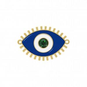 Pingente Olho Grego Ouro com Resina Azul 50mm