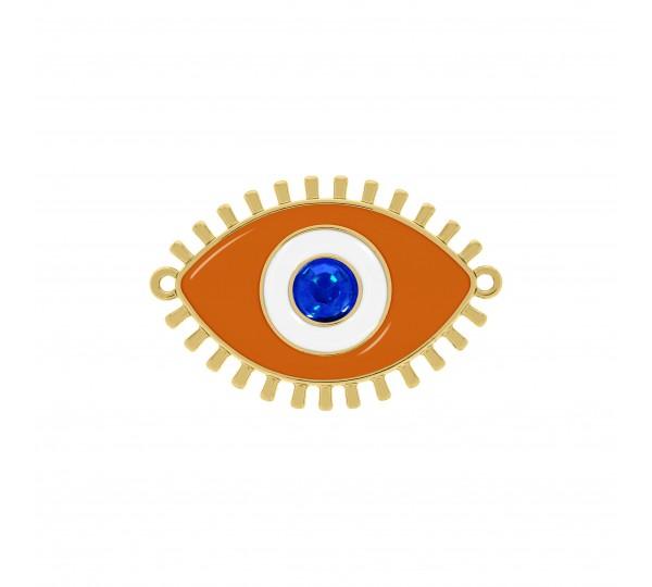 Pingente Olho Grego Ouro com Resina Laranja 50mm