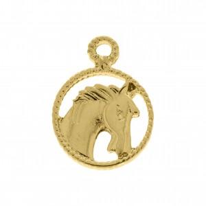 Pingente Medalha Cavalo Ouro 25mm
