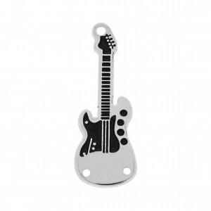 Pingente Guitarra Níquel com Resina Preta 32mm