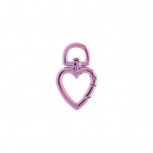 Mini Mosquetão Coração Pink Gloss 35mm