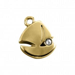 Pingente Navio Ouro com Strass 14mm