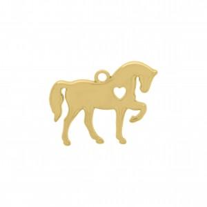 Pingente Cavalo com Coração Ouro 31mm