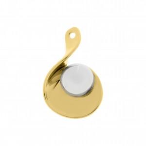 Pingente Orgânico Ouro com Aplique Níquel 38mm