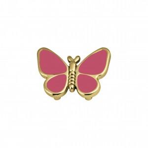 Passador Borboleta Ouro com Resina Rosa Pink 19mm