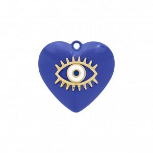 Pingente Coração Azul Bic com Olho Grego Ouro 31mm
