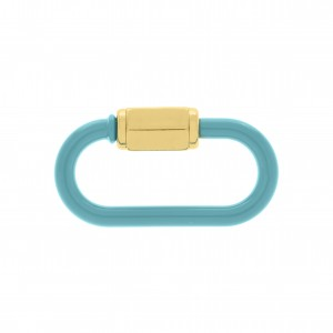 Mosquetão Oval Azul Tiffany com Ouro 37mm