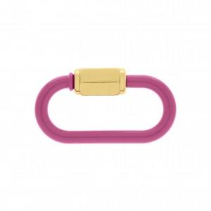 Mosquetão Oval Pink com Ouro 37mm