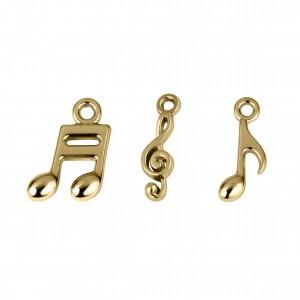 Conjunto de Pingentes Notas Musicais Ouro
