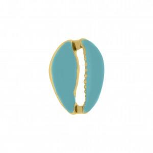 Pingente Ouro Búzio com Resina Azul Tiffany 18mm