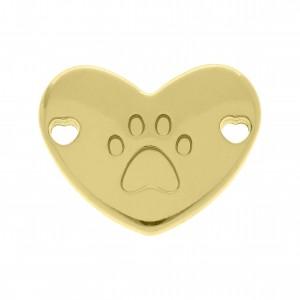 Bridão Coração com Pata Ouro 22mm