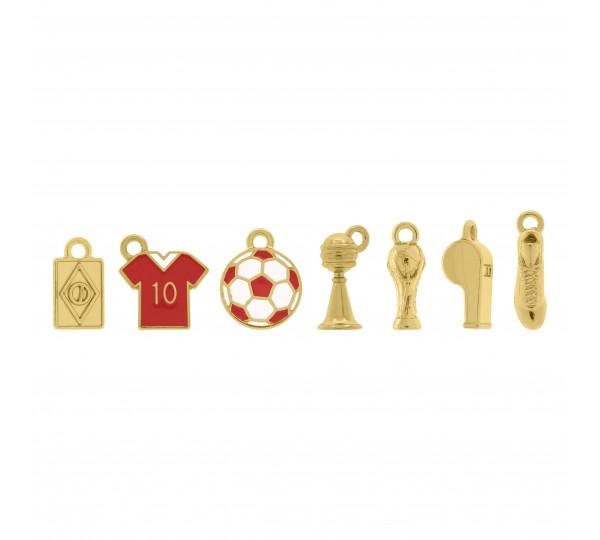 Conjunto de Pingentes Futebol Ouro com Resina Vermelha