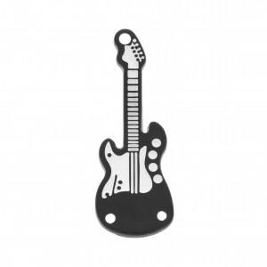 Pingente Guitarra Oxidado com Pintura Branca 32mm