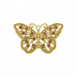 Pingente Borboleta Ouro com Strass Rosa 49mm