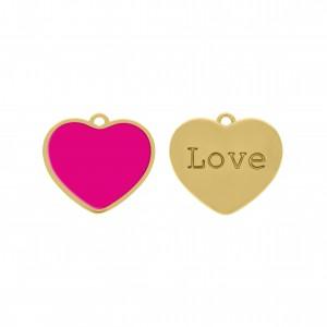 Pingente Coração Ouro com Resina Pink 27mm