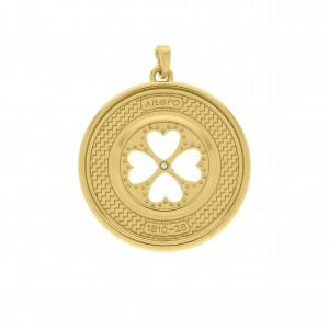 Pingente Medalha Trevo da Sorte Ouro 39mm