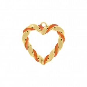 Pingente Coração Torcido Ouro com Resina Laranja 30mm