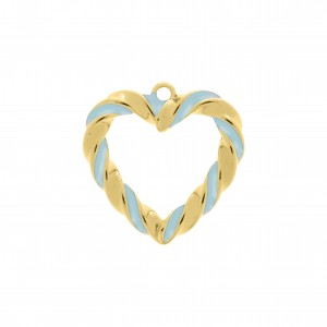 Pingente Coração Torcido Ouro com Resina Azul 30mm