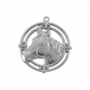 Pingente Medalha Cavalo Níquel 37mm