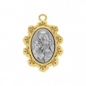 Pingente Medalha Santa Ana Ouro com Aplique Níquel 34mm