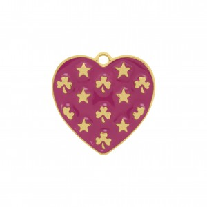 Pingente Coração Ouro com Resina Pink 30mm