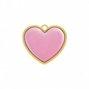 Pingente Ouro Coração com Aplique Baby Pink 27mm