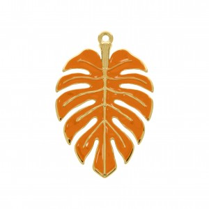 Pingente Ouro Folha Com Resina Laranja Tangerina 54mm
