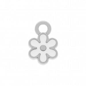 Pingente Flor Níquel com Resina Branca 13mm