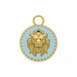 Pingente Leão com Resina Blue Ice 37mm