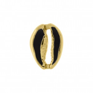 Pingente Ouro Búzio com Resina Preto 18mm