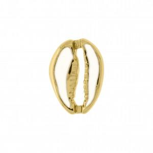 Pingente Ouro Búzio com Resina Branca 18mm