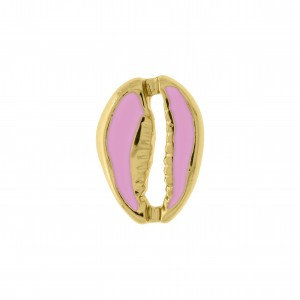 Pingente Búzio Ouro com Resina Baby Pink 18mm
