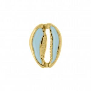 Pingente Búzio Ouro com Resina Blue Ice 18mm