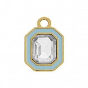 Pingente Octagonal Ouro com Resina e Strass 16mm