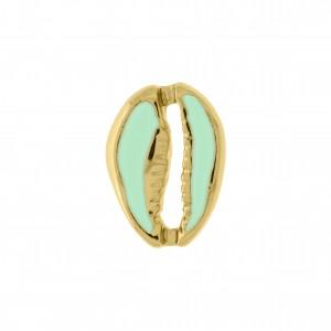 Pingente Ouro Búzio com Resina Verde Água 18mm