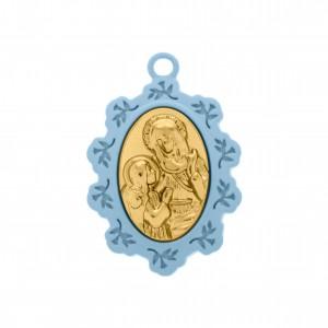Pingente Medalha Santa Ana Azul com Aplique Ouro 34mm