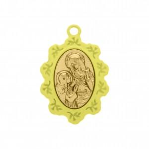 Pingente Medalha Santa Ana Chartreuse com Aplique Ouro 34mm